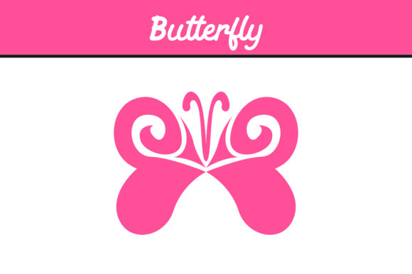 Print on Demand: Pink Butterfly Ornament Vector Graphic Icons By Arief Sapta Adjie