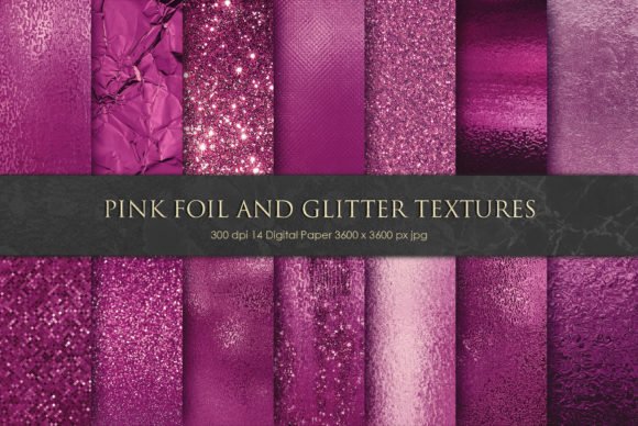 Bright Pink Foil and Glitter Textures Graphic Backgrounds By Creative Paper