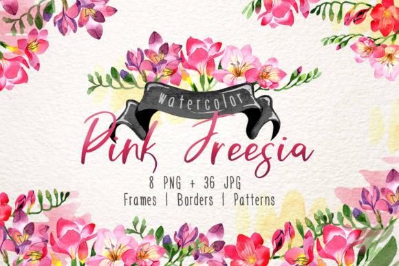 Print on Demand: Pinke Freesien Aquarell PNG Grafik Illustrationen von MyStocks