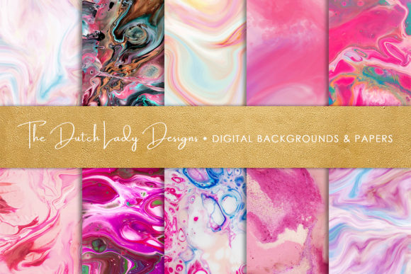Print on Demand: Pink Marble & Swirl Backgrounds Graphic Backgrounds By daphnepopuliers