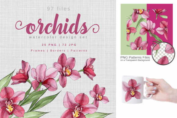 Print on Demand: Pink Orchids Watercolor Graphic Illustrations By MyStocks