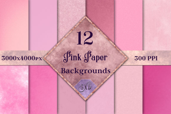 Print on Demand: Pink Paper Backgrounds - 12 Image Set Graphic Backgrounds By SapphireXDesigns