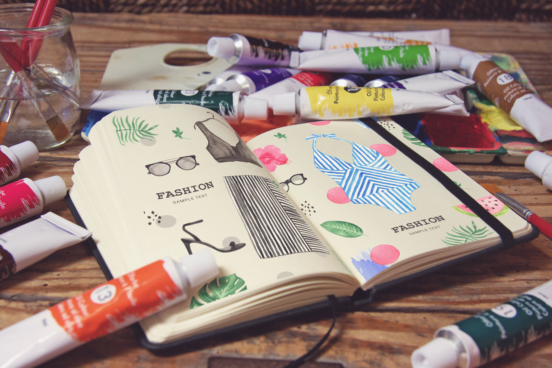 Download Free Pocket Notebook Acrylic Paint Tubs Graphic By Smartdesigns Creative Fabrica for Cricut Explore, Silhouette and other cutting machines.