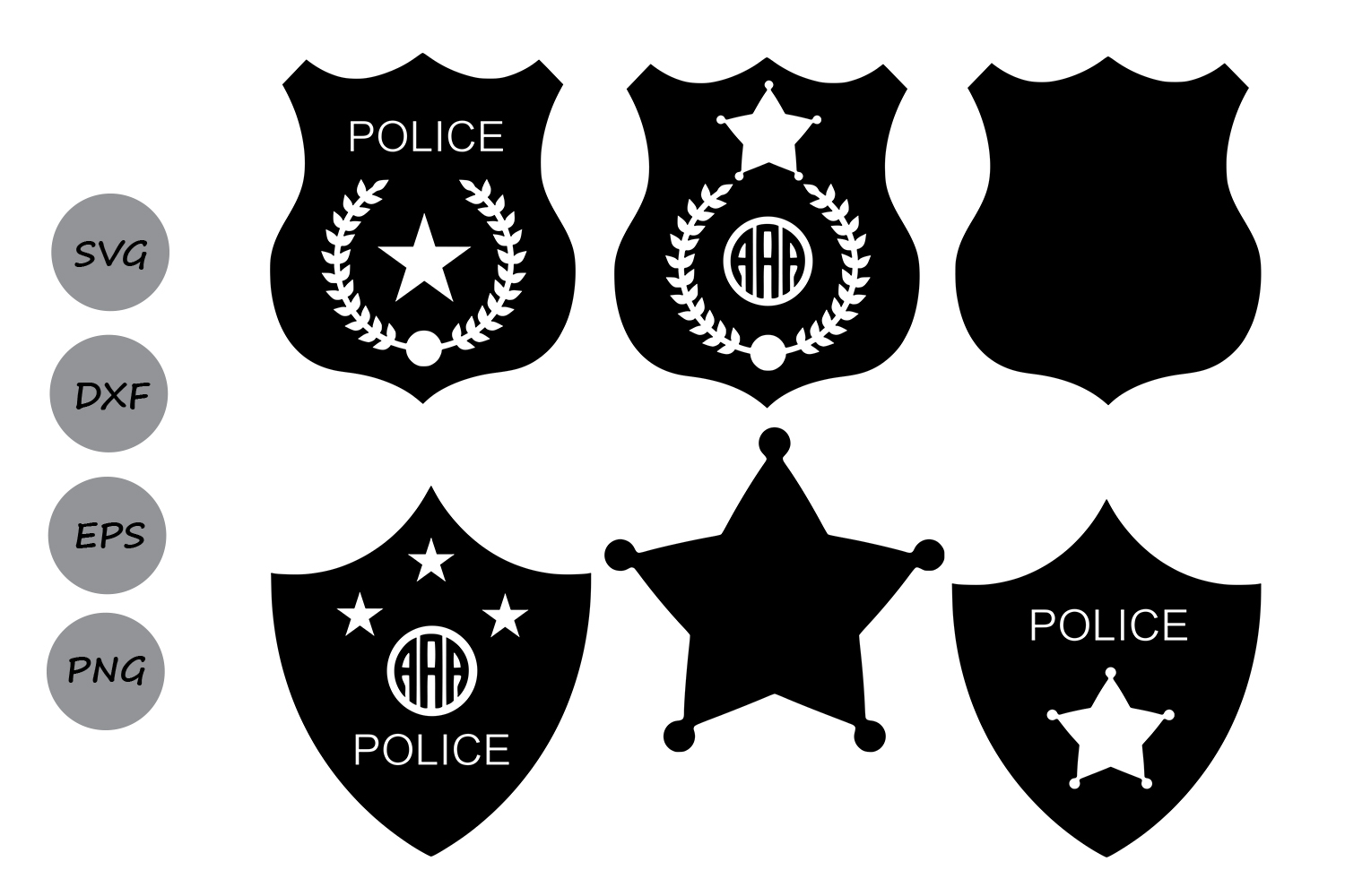 Download Free Police Badge Monogram Svg Graphic By Cosmosfineart Creative for Cricut Explore, Silhouette and other cutting machines.