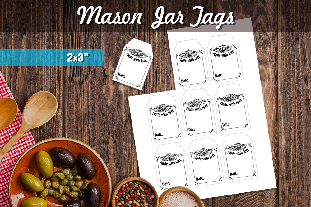 Download Free Printable Mason Jar Tags Vintage Graphic By Danieladoychinovashop Creative Fabrica for Cricut Explore, Silhouette and other cutting machines.