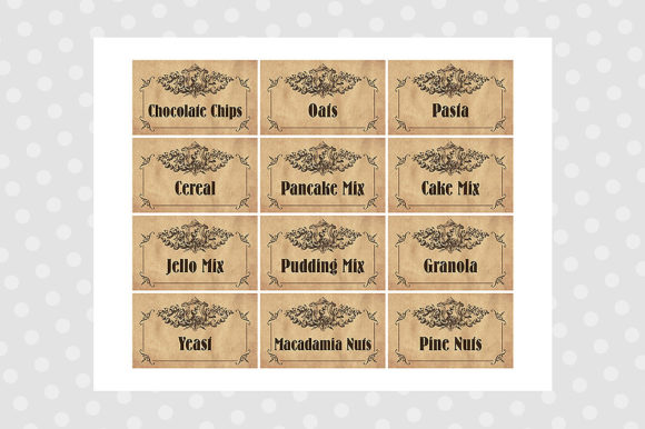 Download Free Printable Pantry Labels Vintage Graphic By for Cricut Explore, Silhouette and other cutting machines.