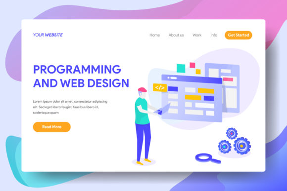 Programming and Web Design Graphic Landing Page Templates By Twiri
