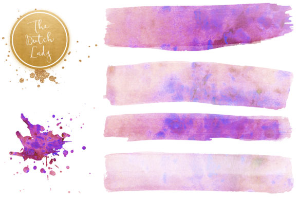Print on Demand: Purple Splotch Watercolor Clipart Set Graphic Crafts By daphnepopuliers - Image 3