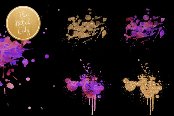 Print on Demand: Purple Splotch Watercolor Clipart Set Graphic Crafts By daphnepopuliers - Image 5