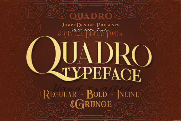 Quadro Family Display Font By JumboDesign