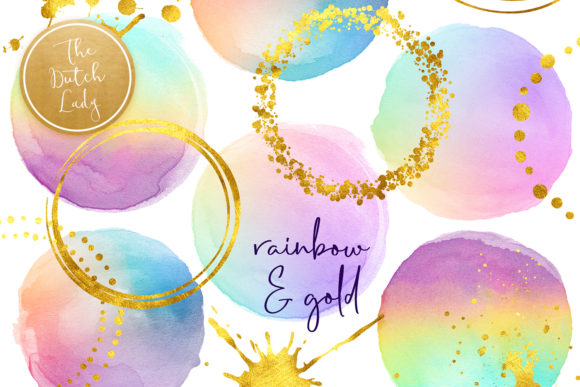 Print on Demand: Rainbow Dots & Golden Decoration Clipart Set Graphic Crafts By daphnepopuliers
