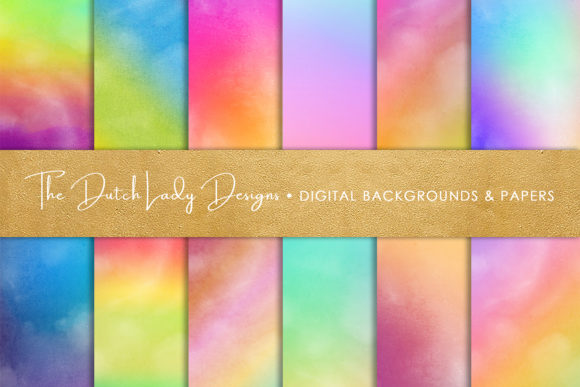 Print on Demand: Rainbow Gradient Scrapbook Papers Graphic Backgrounds By daphnepopuliers