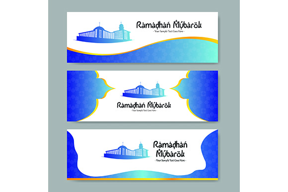 Download Free Ramadan Kareem Banner Gradation Mosque Blue Orange Green And Pink for Cricut Explore, Silhouette and other cutting machines.