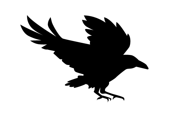 Raven Silhouette Flying Svg Cut File By Creative Fabrica