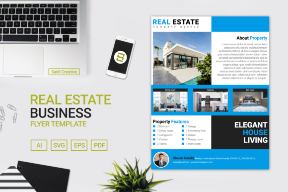 Real Estate Business Flyer & Brochure Template Design Graphic Print Templates By Saidi Creative