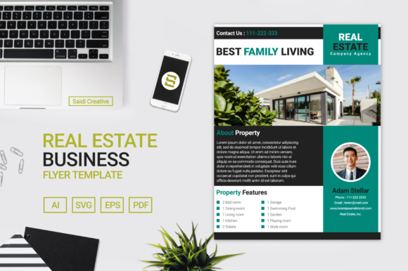Real Estate Business Flyer & Brochure Template Design Gráfico Plantillas para Impresión Por Saidi Creative