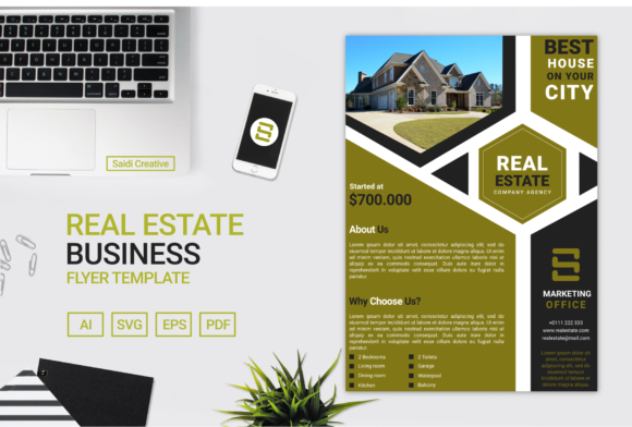 Real Estate Business Flyer & Brochure Template Graphic