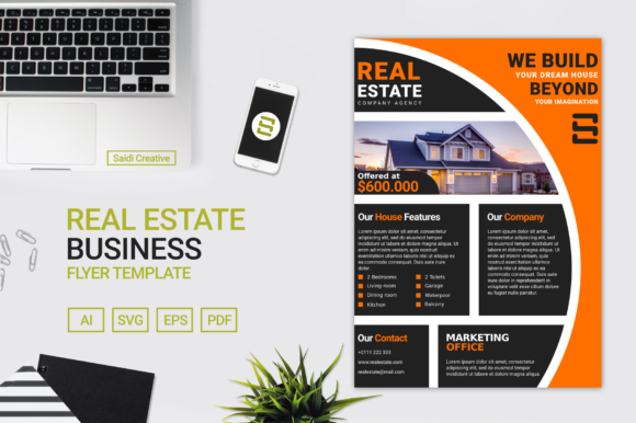 Real Estate Business Flyer & Brochure Template Graphic Print Templates By Saidi Creative