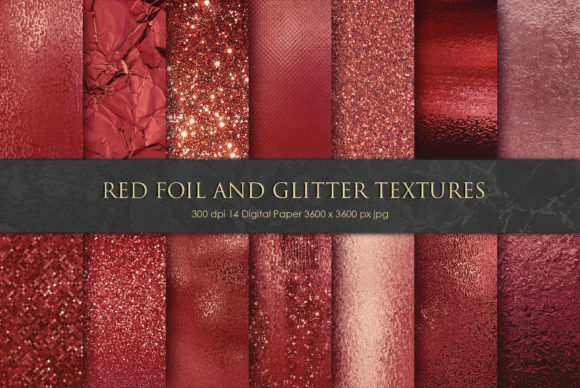 Print on Demand: Red Foil and Glitter Textures Graphic Textures By Creative Paper