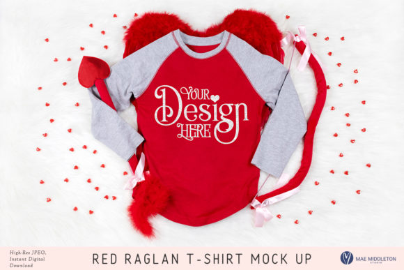 Red T-shirt Mock Up for Valentine's Day Graphic Product Mockups By maemiddletonstudio