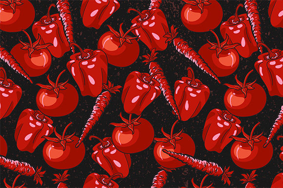Print on Demand: Red Vegetables Seamless Pattern Graphic Patterns By Kotak Kuning Studio