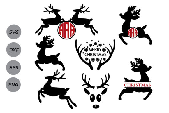 Download Free Reindeer Monogram Graphic By Cosmosfineart Creative Fabrica for Cricut Explore, Silhouette and other cutting machines.