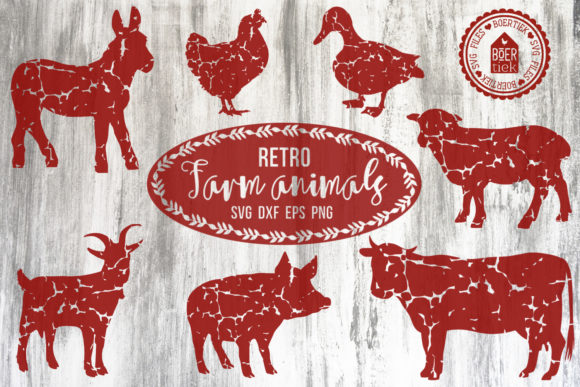 Retro Farm Animals, Distressed Texture Graphic Crafts By Boertiek