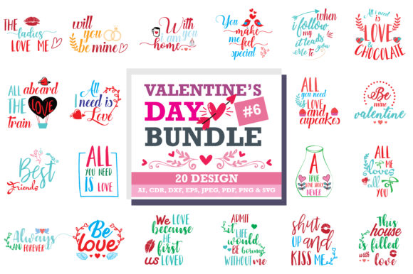 Print on Demand: Romantic SVG Bundle Grafik Designvorlagen von TheLucky