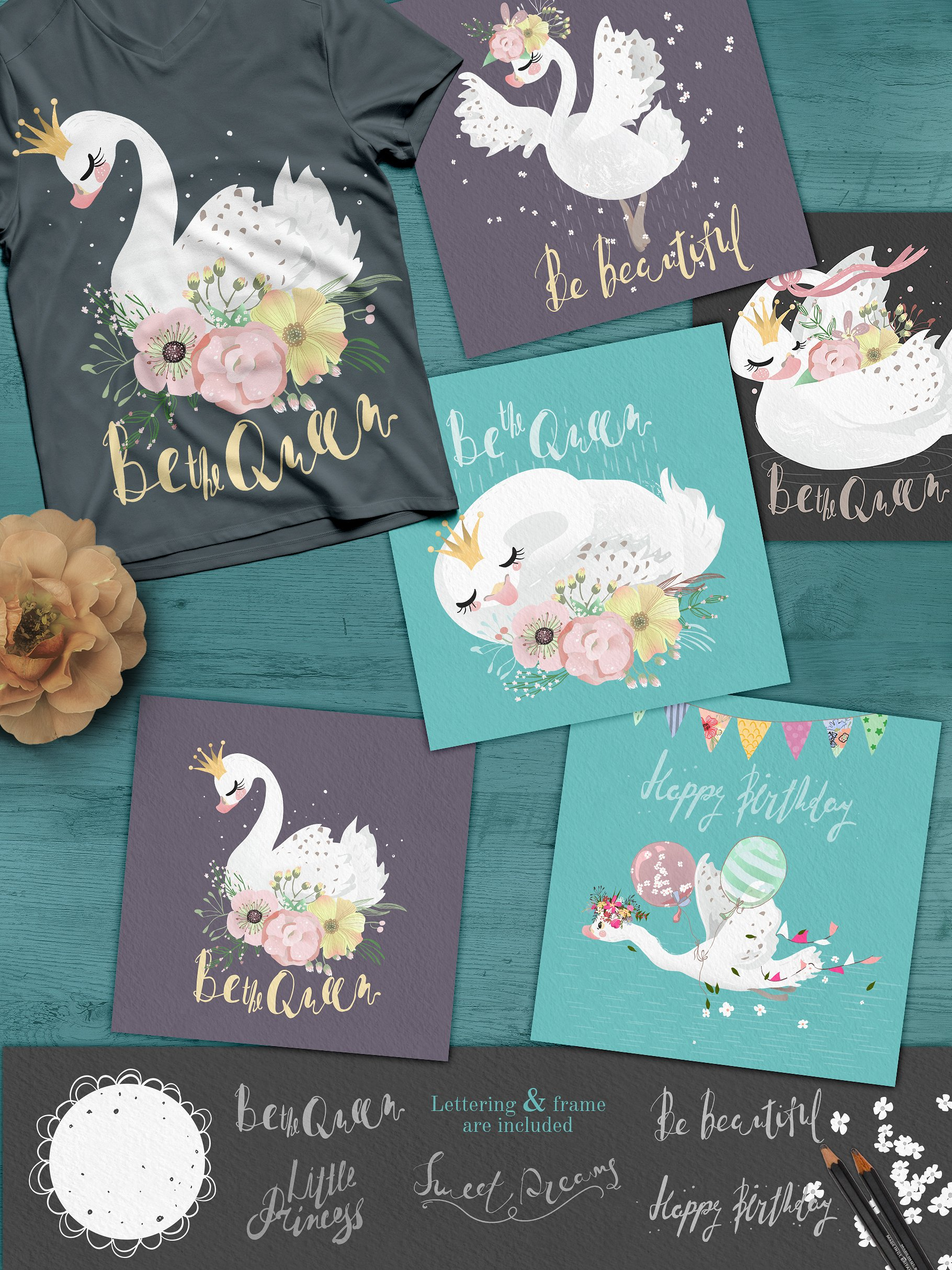 Download Free Romantic Swans Graphic By Anna Babich Creative Fabrica for Cricut Explore, Silhouette and other cutting machines.