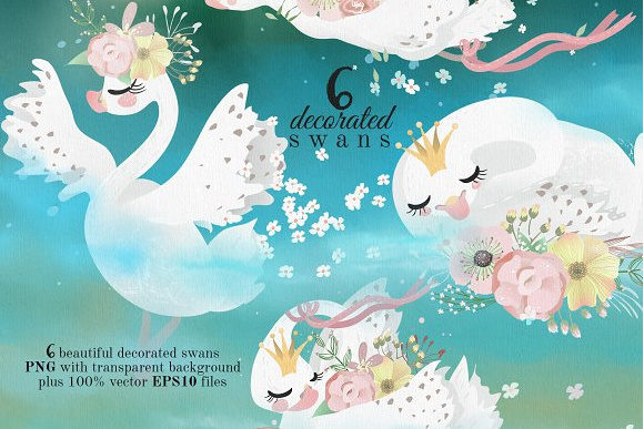 Romantic Swans Graphic By Anna Babich Image 2