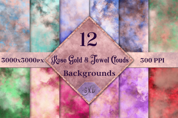 Print on Demand: Rose Gold and Jewel Color Clouds Backgrounds Graphic Backgrounds By SapphireXDesigns