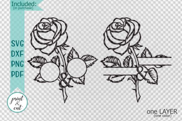 Download Free Rose Monogram Graphic By Cornelia Creative Fabrica for Cricut Explore, Silhouette and other cutting machines.