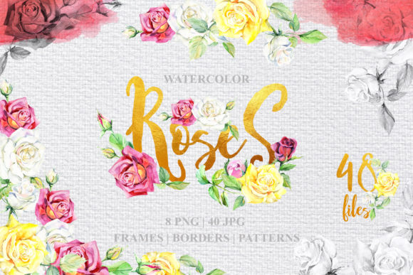 Print on Demand: Watercolor Roses Graphic Illustrations By MyStocks