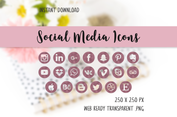 Rosegold Social Media Icons Graphic Icons By The Branding Place