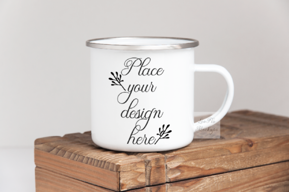 Print on Demand: Rustic Metal Tin Enamel Camp Mug Mockup Graphic Product Mockups By Leo Flo Mockups
