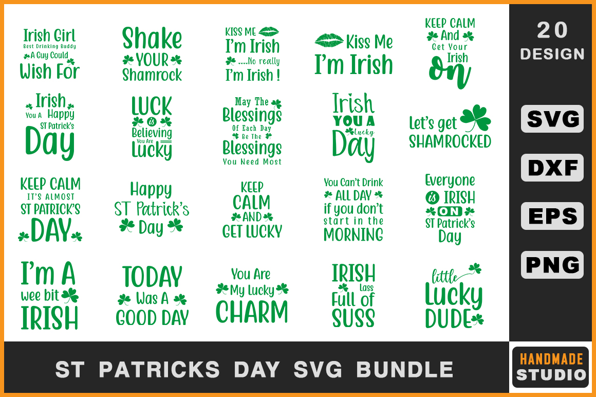 Download Free St Patrick S Day Bundle Graphic By Handmade Studio Creative for Cricut Explore, Silhouette and other cutting machines.