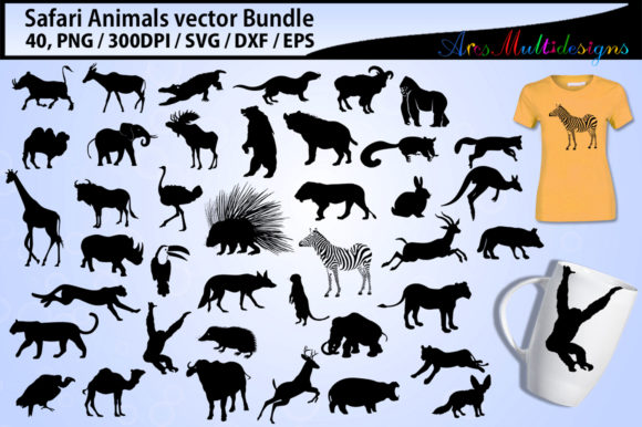 Print on Demand: Safari Clipart Silhouette Bundle Graphic Illustrations By Arcs Multidesigns