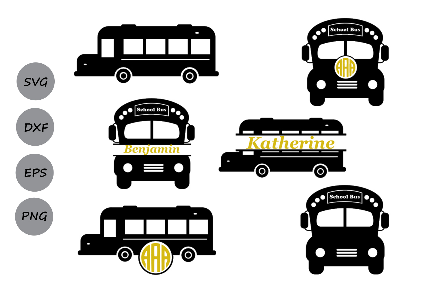 Download Free School Bus Monogram Svg Graphic By Cosmosfineart Creative Fabrica for Cricut Explore, Silhouette and other cutting machines.