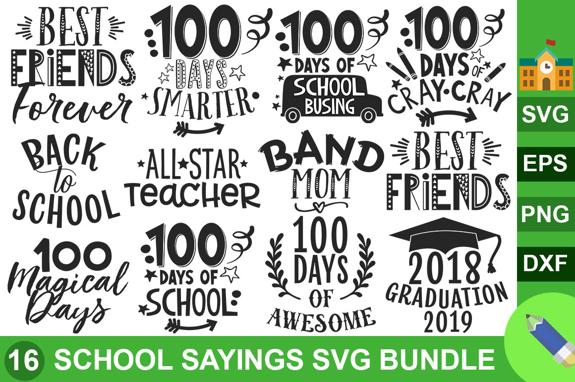 Download Free School Sayings Bundle Graphic By Subornastudio Creative Fabrica for Cricut Explore, Silhouette and other cutting machines.