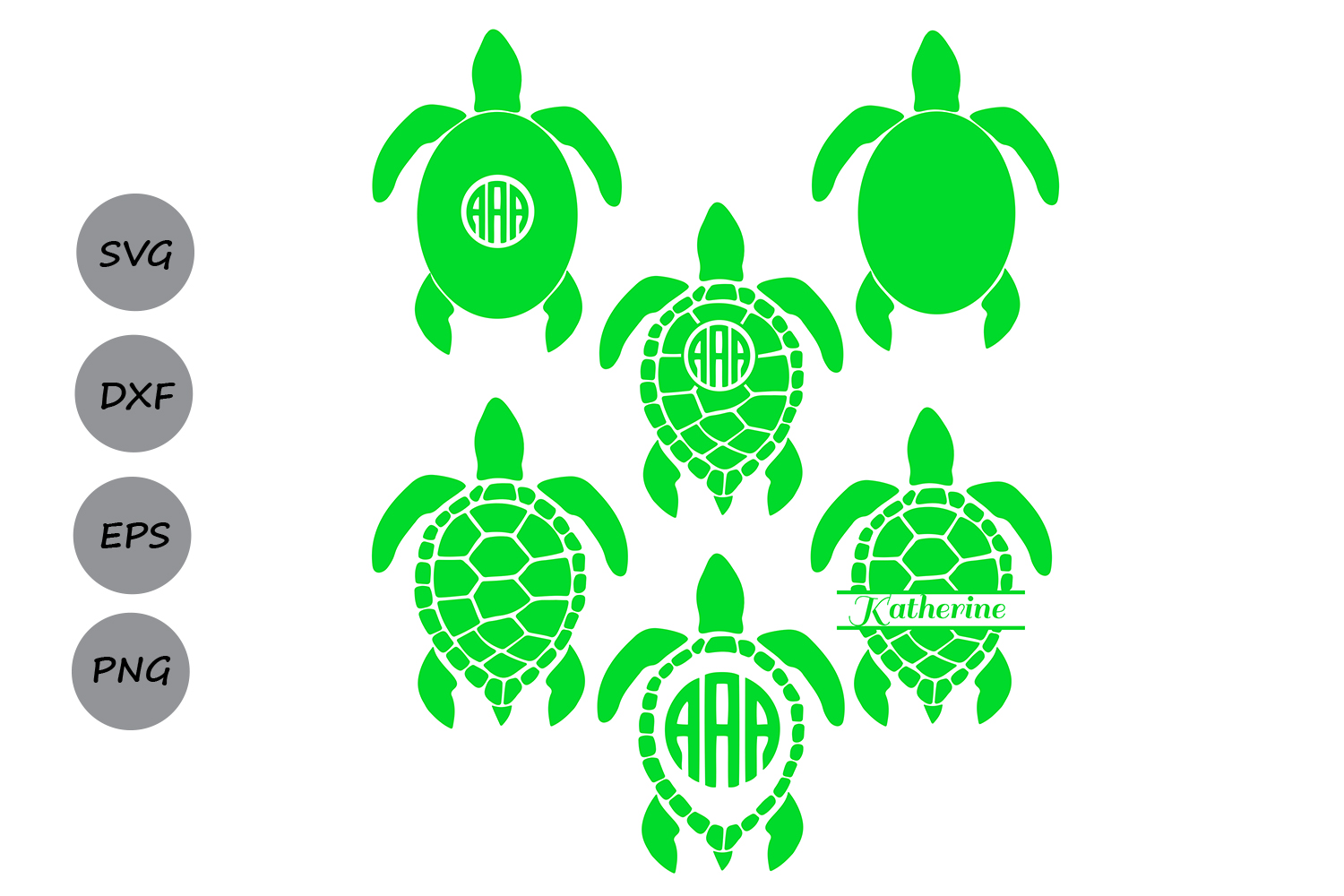 Download Free Sea Turtle Monogram Svg Graphic By Cosmosfineart Creative Fabrica for Cricut Explore, Silhouette and other cutting machines.