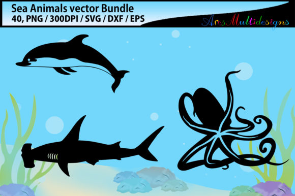 Print on Demand: Sea Animals Svg Silhouette Bundle Graphic Illustrations By Arcs Multidesigns - Image 2