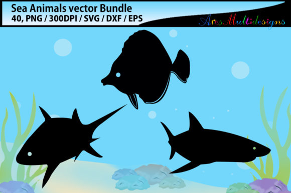 Print on Demand: Sea Animals Svg Silhouette Bundle Graphic Illustrations By Arcs Multidesigns - Image 3