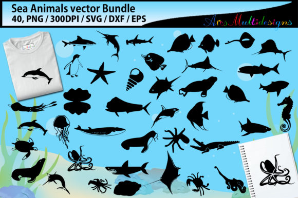 Download Free Sea Animals Silhouette Bundle Graphic By Arcs Multidesigns for Cricut Explore, Silhouette and other cutting machines.