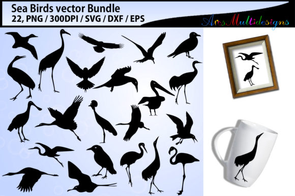 Print on Demand: Sea Birds Svg Silhouette Bundle Graphic Illustrations By Arcs Multidesigns