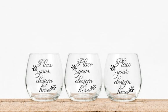 Print on Demand: Set of 3 Seamless Wine Glass Mockups Graphic Product Mockups By Leo Flo Mockups