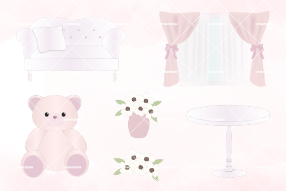 Download Free Shabby Chic Girl Room Clipart Graphic By Lilyuri0205 Creative for Cricut Explore, Silhouette and other cutting machines.