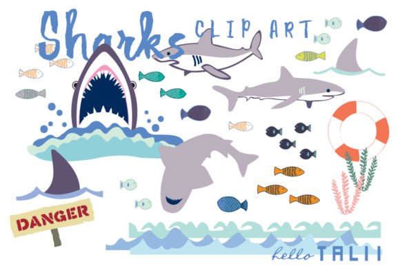 Sharks Clip Art Graphic Illustrations By Hello Talii