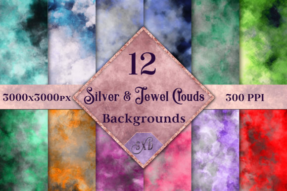 Print on Demand: Silver and Jewel Colour Clouds Backgrounds Graphic Backgrounds By SapphireXDesigns