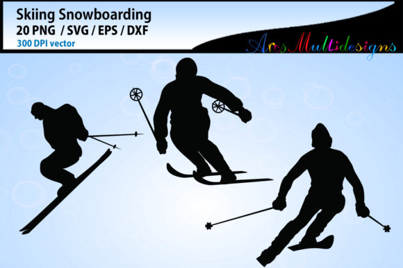 Print on Demand: Skiing Silhouette Vector Graphic Crafts By Arcs Multidesigns - Image 2