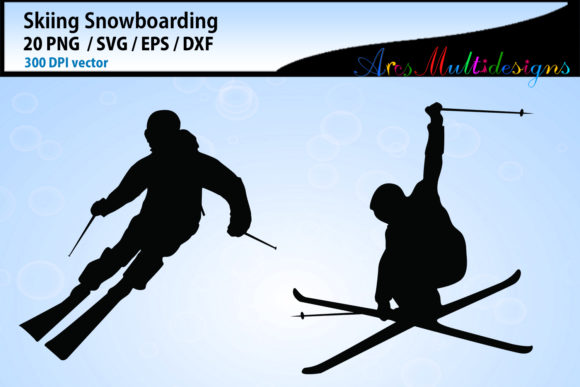 Print on Demand: Skiing Silhouette Vector Graphic Crafts By Arcs Multidesigns - Image 3